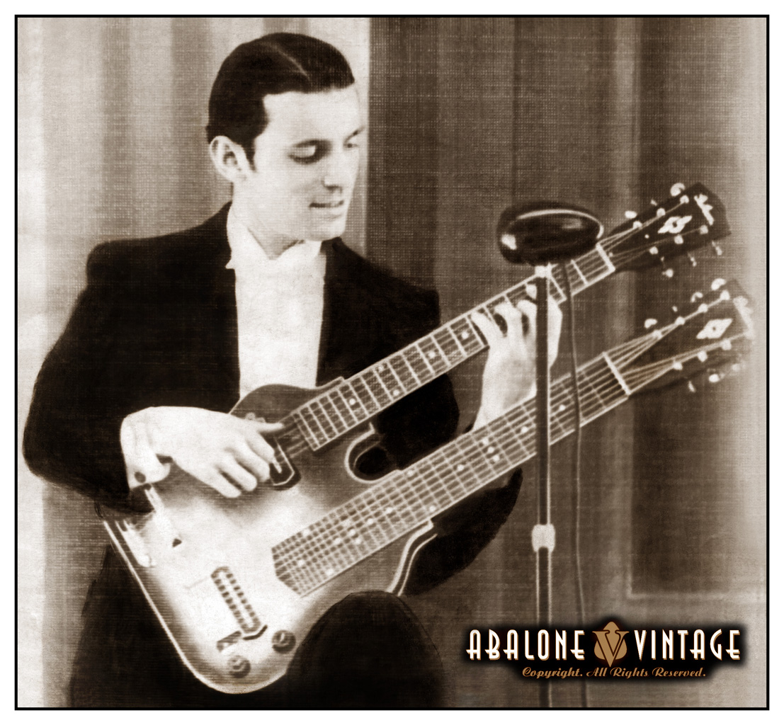 http://www.abalonevintage.com/1937_gibson_esh-150_double_neck_spanish_guitar_guitarist.jpg