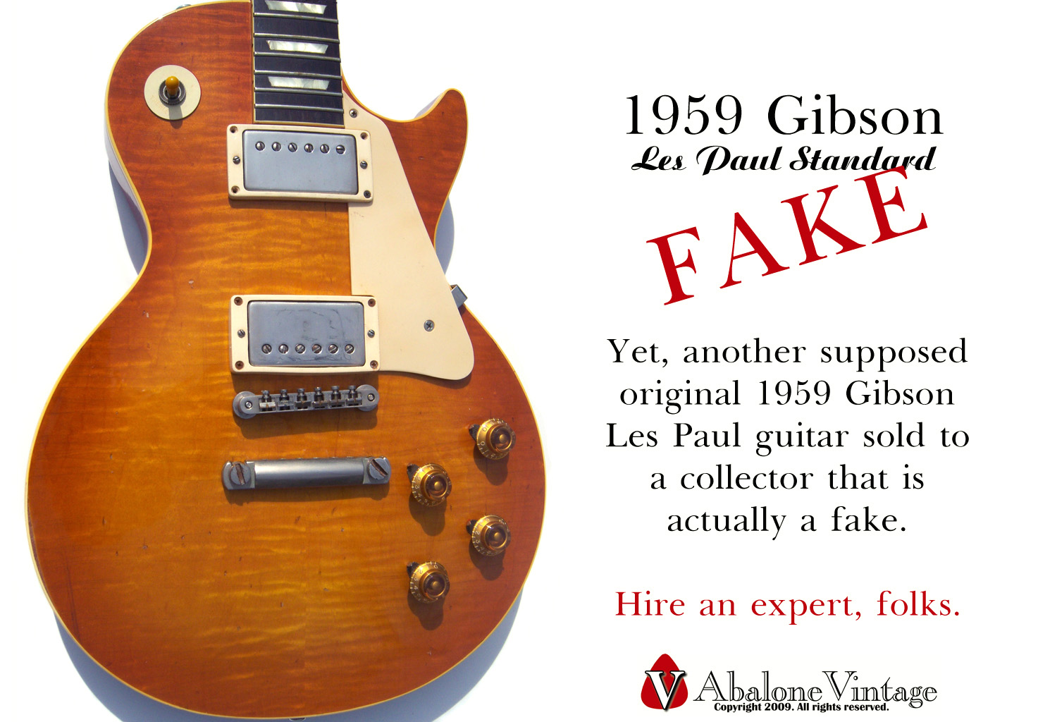 Fake 1959 Gibson Les Paul guitar Forgery replica